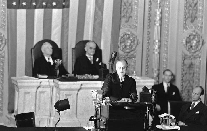 President Franklin D. Roosevelt addresses a joint session of Congress on Jan. 3, 1936, to defend the New Deal against financial and industrial critics.
