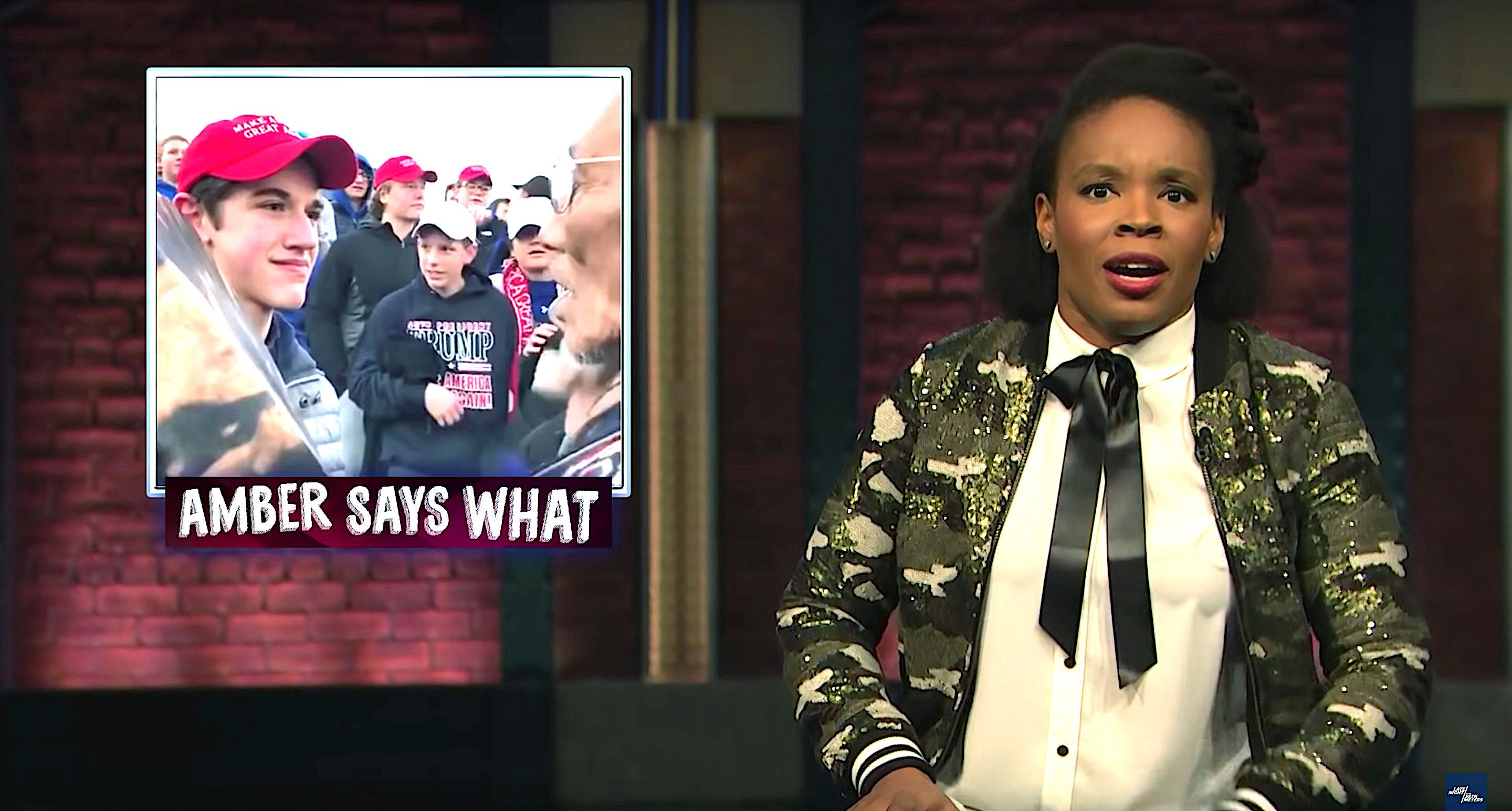 "Amber Ruffin reviews the news on ""Late Night."""