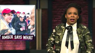 """Amber Ruffin reviews the news on """"Late Night."""""""