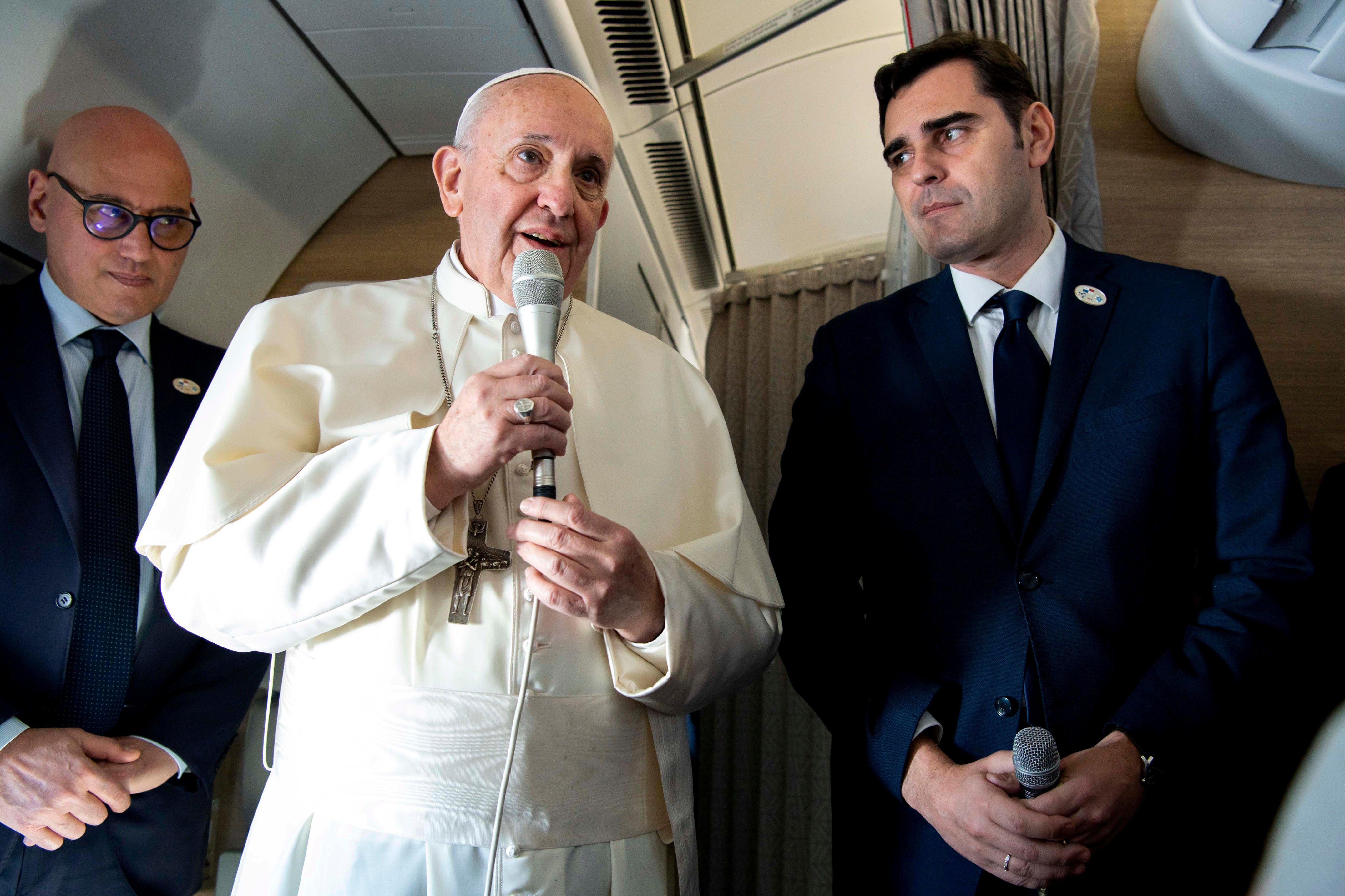 Pope Francis speaks during a news conference aboard a plane headed to Panama, January 23, 2019. Vatican Media via REUTERS THIS IMAGE HAS BEEN SUPPLIED BY A THIRD PARTY.