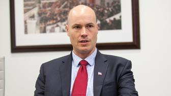 UNITED STATES - July 27: JD Scholten, Democratic candidate for Iowa's 4th congressional district, is interviewed by CQ Roll Call at their D.C. office, July 27, 2018. (Photo by Thomas McKinless/CQ Roll Call).