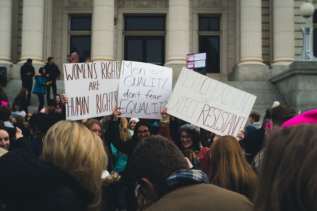 Women protesting in Provo, Utah, on the third anniversary of the Women's