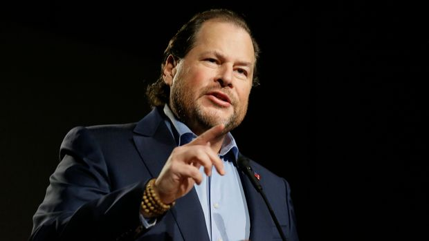In this photo taken Tuesday, Oct. 30, 2018, Salesforce CEO Marc Benioff speaks at a SPUR luncheon in San Francisco. Benioff spoke about the responsibility of businesses and leaders to their local communities, including solving the homelessness crisis in San Francisco and beyond. Benioff supports a measure on San Francisco's Nov. 6 ballot would levy an extra tax on hundreds of the city's wealthiest companies to raise $300 million for homelessness and mental health services. SPUR is is a non-profit research, education, and advocacy organization focused on issues of planning and governance in San Francisco, San Jose and Oakland. (AP Photo/Eric Risberg)