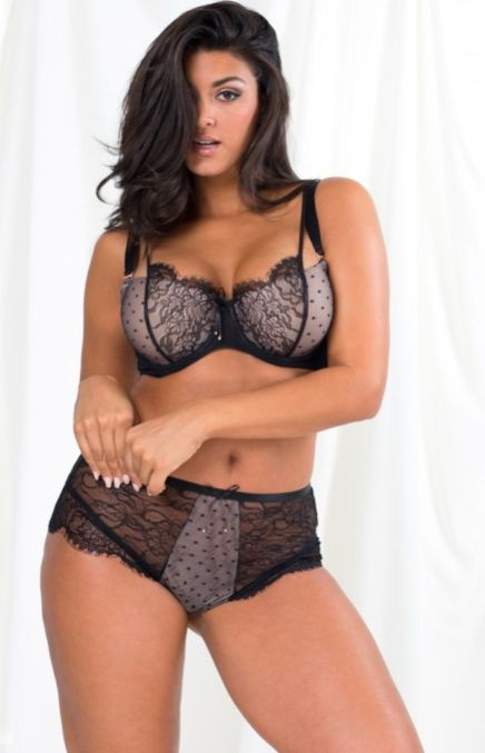 671a8827048d2 Curvy Lace   Mesh Unlined Underwire Bra and Curvy High Rise Cheeky Panty.  Smart and Sexy