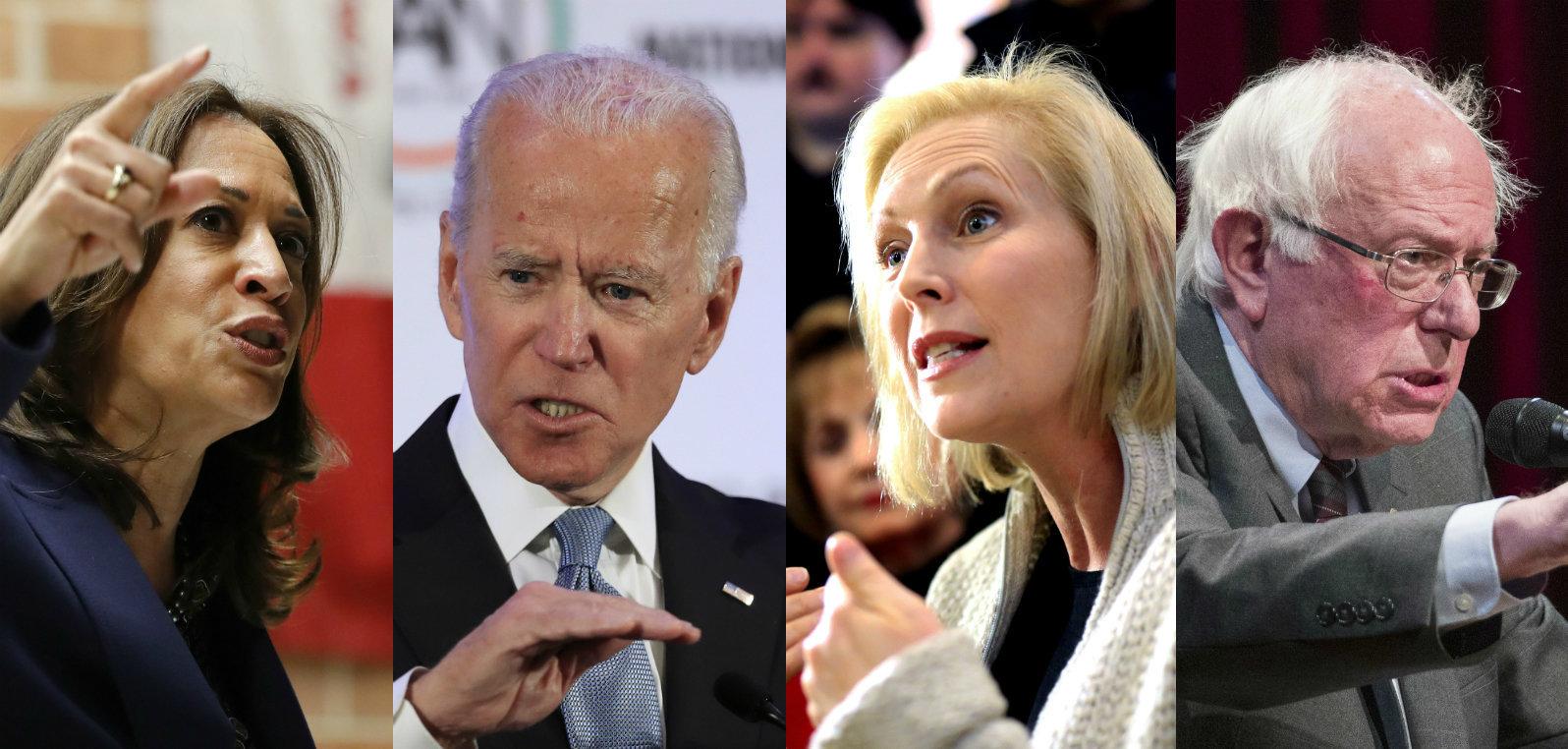 Senator Kamala Harris, former Vice President Joe Biden, Senator Kirsten Gillibrand and Senator Bernie Sanders.