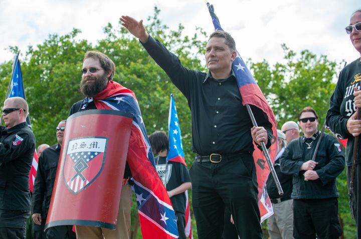 Demonstrators gather at a small neo-Nazi rally held in Georgia in April 2018.