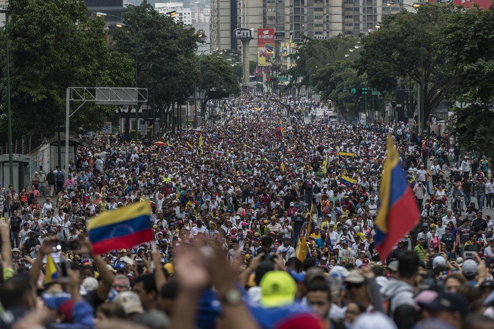 니콜라스 마두로 대통령 퇴진을 촉구하는 대규모 시위가 열렸다. 카라카스, 베네수엘라. 2019년
