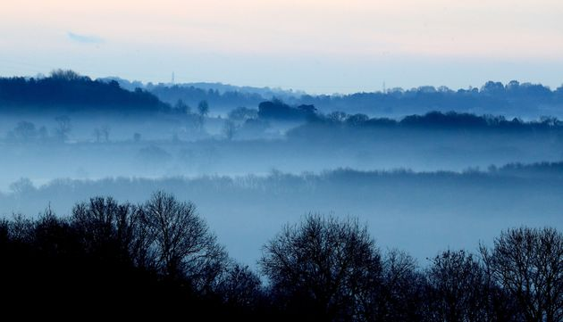 A view of the landscape on a frosty morning near Bodiam in in East Sussex, as the cold weather