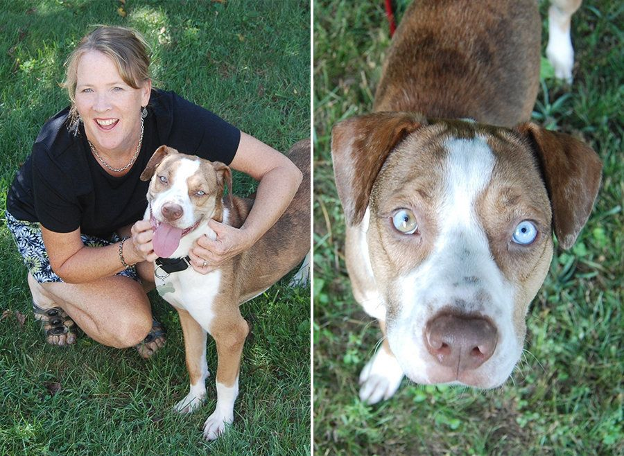 Cara with Frank, the Catahoula with one blue one and one half-brown, half-blue eye, who changed