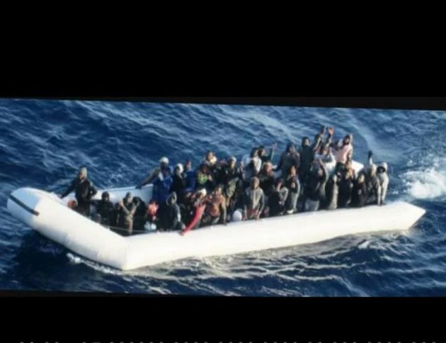A picture taken by Italian coastguard, which shows the dinghy that Isaias says he used to cross the