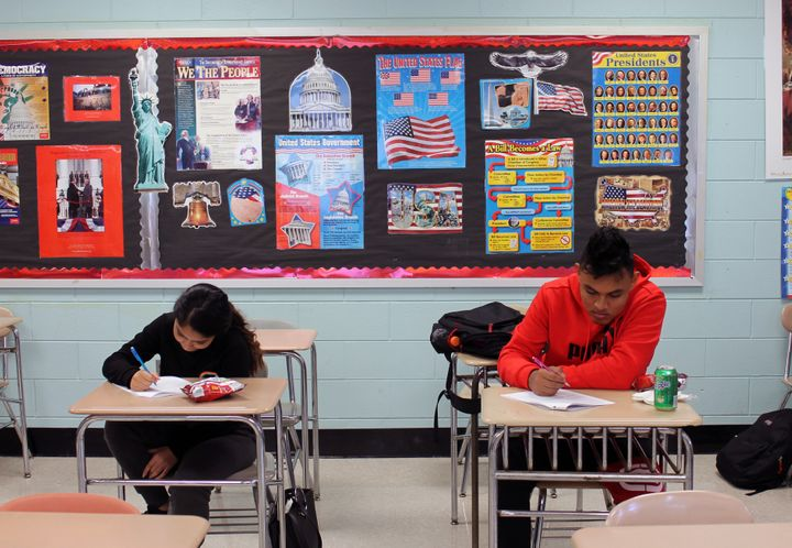 High schoolers in a social studies class at Patchogue-Medford work on a lesson about the history of nationalism.
