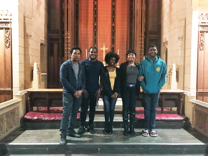The Thompson family, (from left) Clive, CJ, Christine, Oneita and Timothy, stand in the sanctuary of the First United Methodi