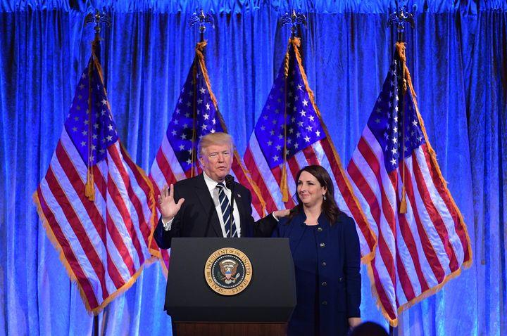 President Donald Trump and RNC Chairwoman Ronna McDaniel.