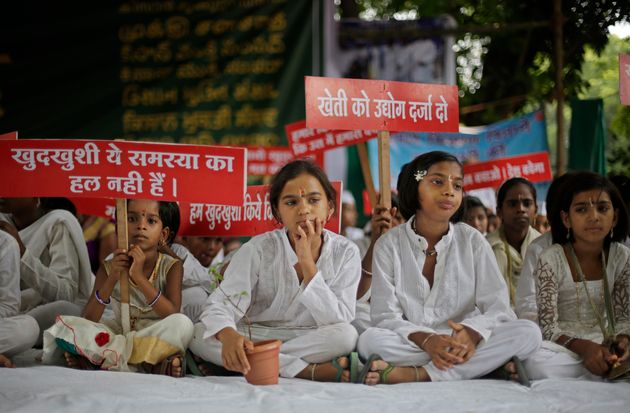 Children of farmers who committed suicide during a protest in New Delhi in July, 2017. Their campaign...