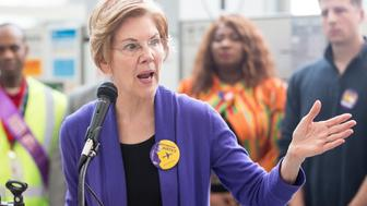 BOSTON, MA - JANUARY 21:  Sen. Elizabeth Warren (D-MA), speaks during a rally for airport workers affected by the government shutdown at Boston Logan International Airport on January 21, 2019 in Boston, Massachusetts.  As the partial government shutdown enters its fifth week, the stalemate between President Donald Trump and congressional Democrats continues as they cannot come to a bipartisan solution on border security.  (Photo by Scott Eisen/Getty Images)