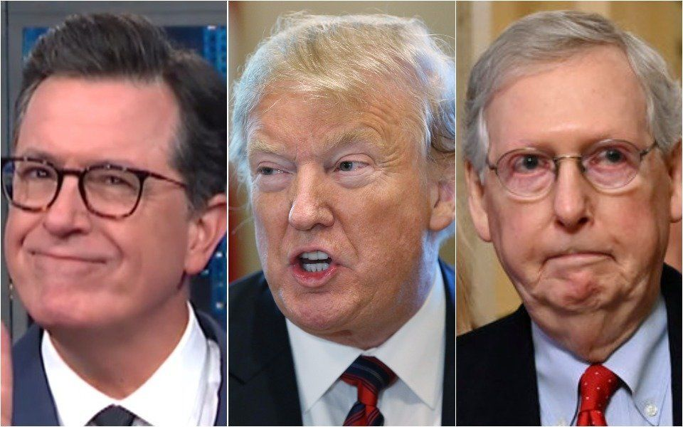Stephen Colbert, Donald Trump, Mitch McConnell