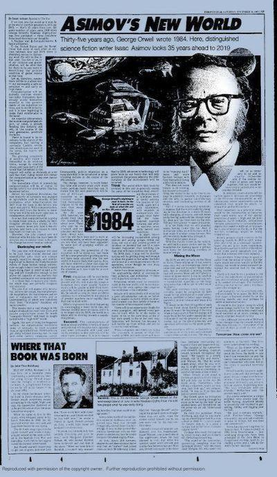 1983년 12월31일치 토론토스타에 실린 아시모프의 기고문.