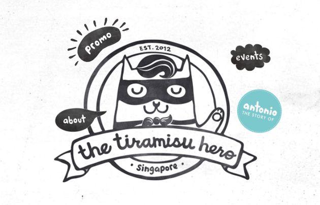 싱가포르 티라미수 히어로의 로고. 귀여운 고양이 '안토니오'가 가면을 쓰고
