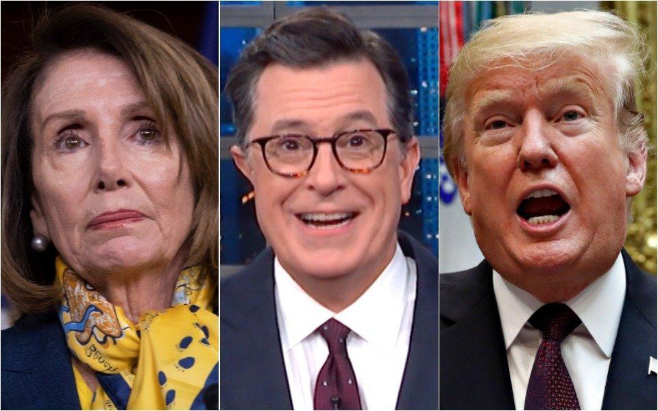 Nancy Pelosi, Stephen Colbert, Donald Trump