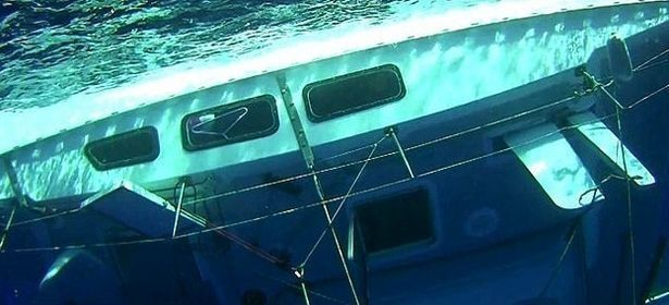 The entire vessel was found capsized and almost fully