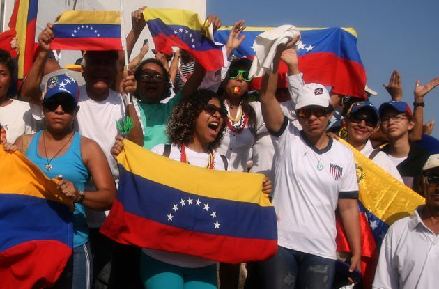 Venezuelans supporting the call to march for freedom on