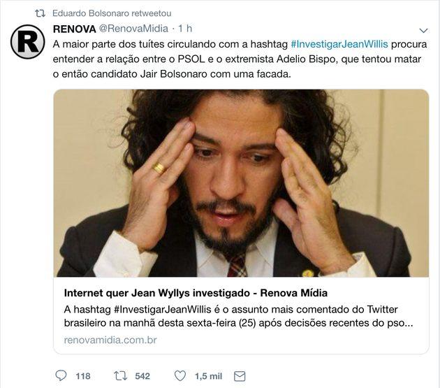 Em reação a saída de Jean Wyllys, família Bolsonaro volta a ligar PSol a