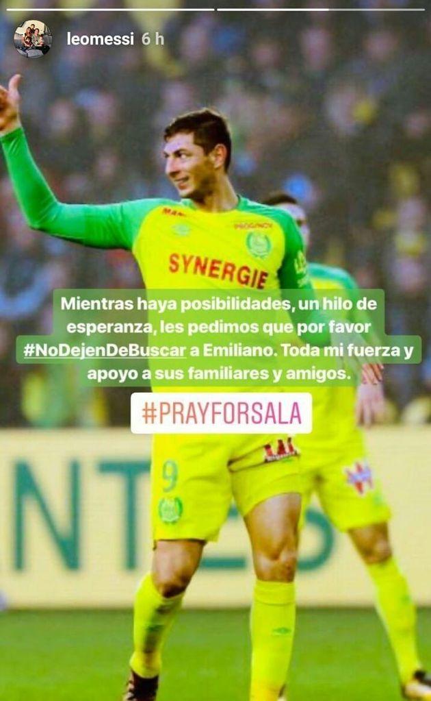 Disparition d'Emiliano Sala: Messi appelle à la poursuite des