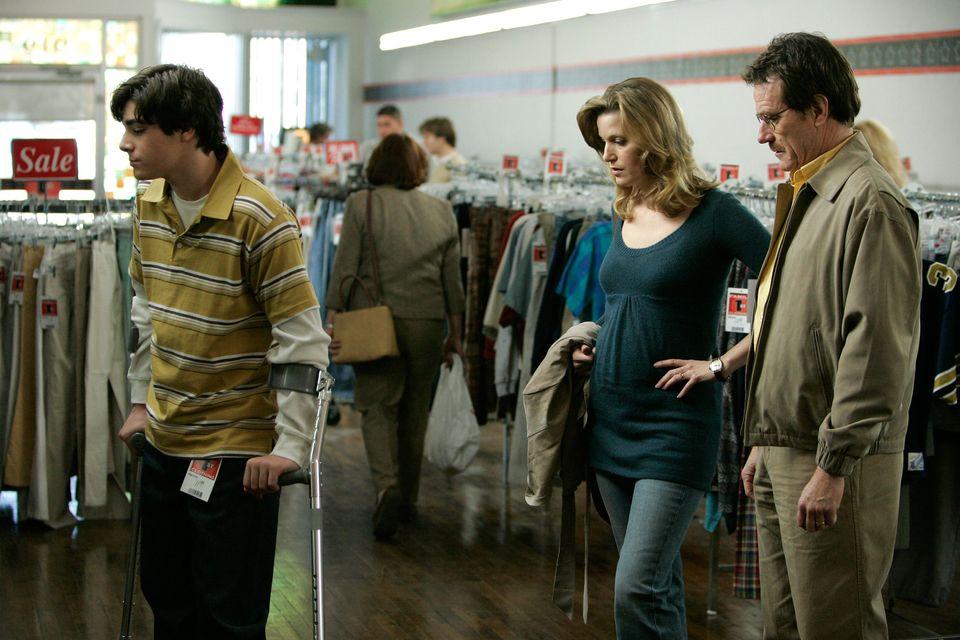 RJ Mitte withAnna Gunn and Bryan Cranston in 'Breaking