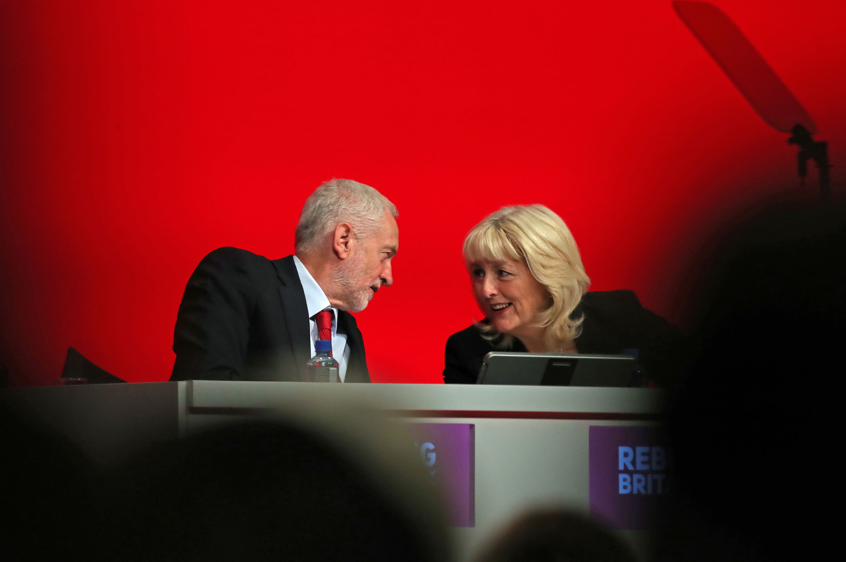 Jeremy Corbyn with Jennie Formby at Labour Party conference in