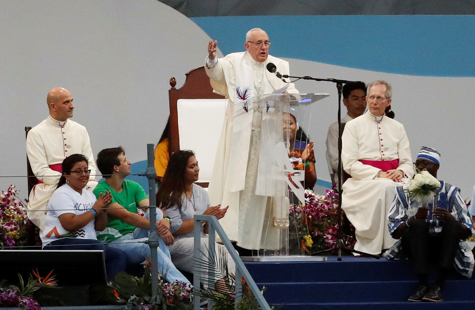 Pope Francis speaks during the opening ceremony for World Youth Day.