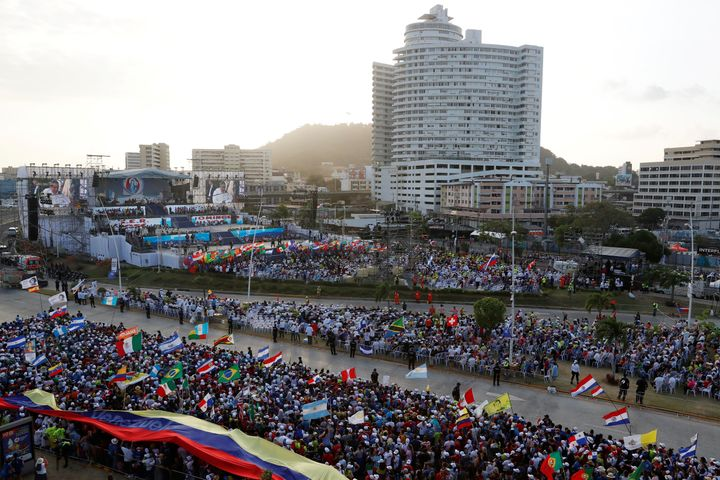 People are seen during the opening ceremony for World Youth Day.