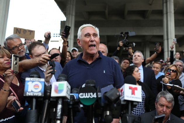 Stone speaks to the media after leaving the Federal Courthouse on January 25, 2019 in Fort