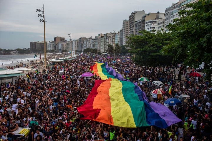 A giant rainbow flag is pictured during the Pride parade at Copacabana Beach in Rio de Janeiro, Brazil, on Sept. 30, 2018.