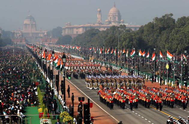 Paramilitary soldiers march past Rajpath during Republic Day parade in New