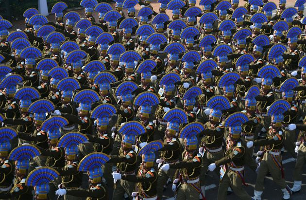 The Central Reserve Police Force contingent marches during the Republic Day