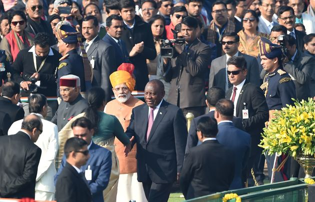 Prime Minister Narendra Modi, President Ram Nath Kovind and South African President Cyril Ramaphosa meet...