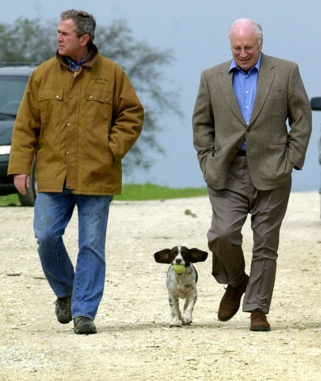 George Bush and Dick Cheney (with Bush's dog) in