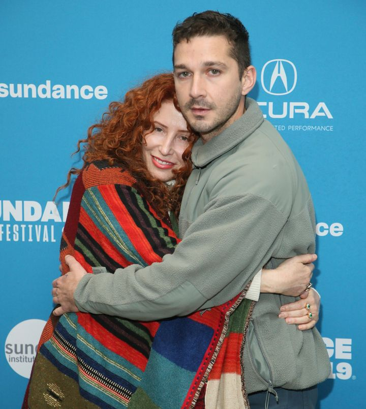 "Alma Har'el and Shia LaBeouf at the Sundance Film Festival premiere of ""Honey Boy."""