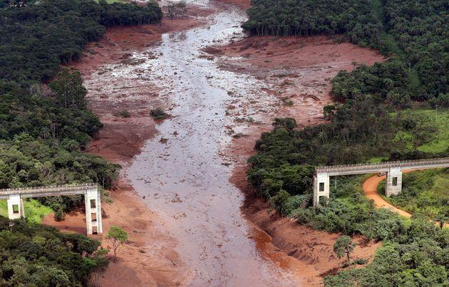 Rio Paraobeba, na região de Brumadinho (MG), após do rompimento da