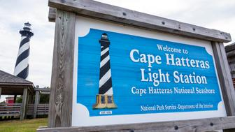 North Carolina, Cape Hatteras Light Station and lighthouse. (Photo by: Jeffrey Greenberg/UIG via Getty Images)