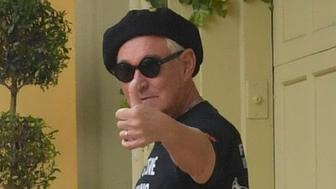 FORT LAUDERDALE, FL - JANUARY 26: First picture of Trump ally Roger Stone (Born: August 27, 1952 age 66 years) at his home after Muller Arrest. Rodger was in great sprits with a big thumbs up on January 26, 2019 in Fort Lauderdale, Florida People: Roger Stone Credit: Hoo-Me.com / MediaPunch *** NY PAPERS OUT***** /IPX