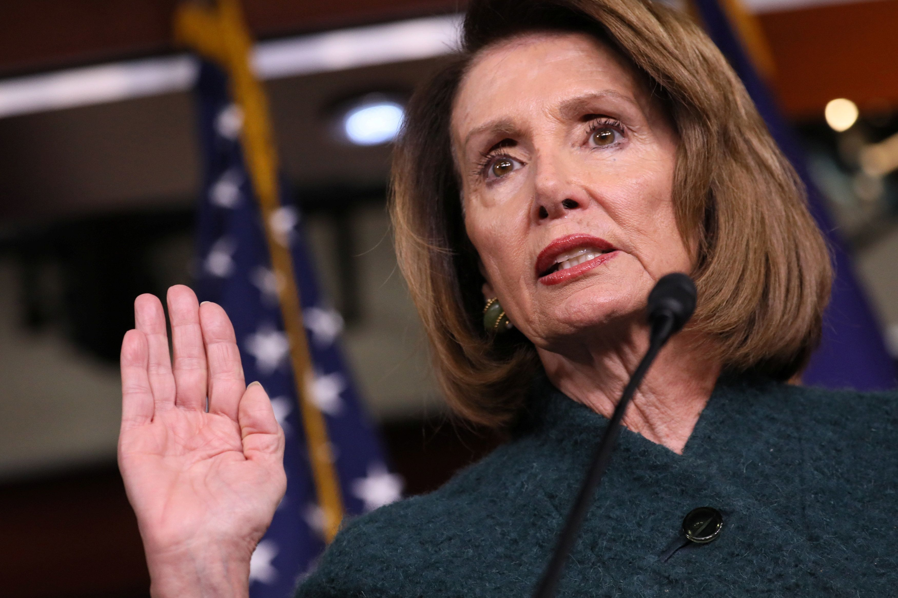 U.S. House Speaker Nancy Pelosi (D-CA) talks about upholding her oath of office in negotiations with President Trump over the federal budget, border security and the partial federal government shutdown during a news conference at the U.S. Capitol in Washington, U.S. January 10, 2019.  REUTERS/Jonathan Ernst