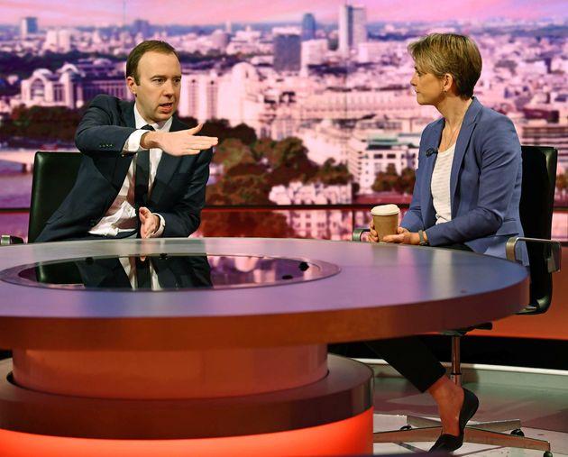 Health Secretary Matt Hancock and Labour's Yvette Cooper on BBC One's Andrew Marr