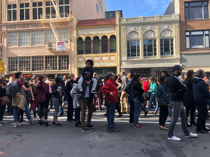 Crowds lined up on the streets of downtown Oakland ahead of Kamala Harris' campaign kickoff.