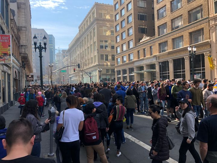 The line to get in the rally stretched for several city blocks.