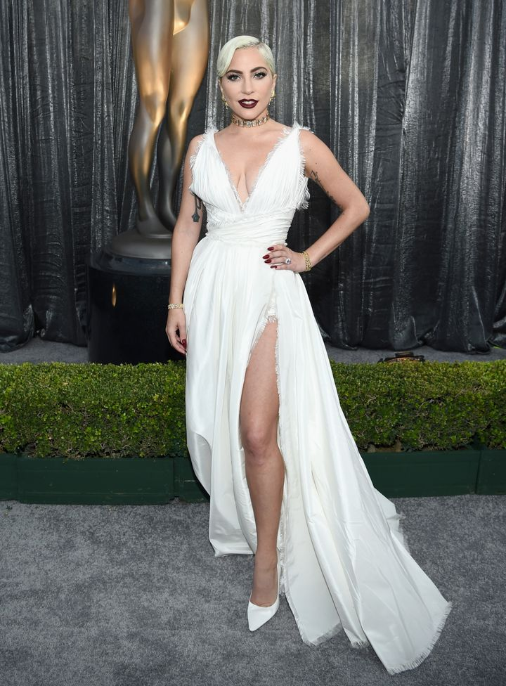 Lady Gaga stuns in a Dior Haute Couture gown.