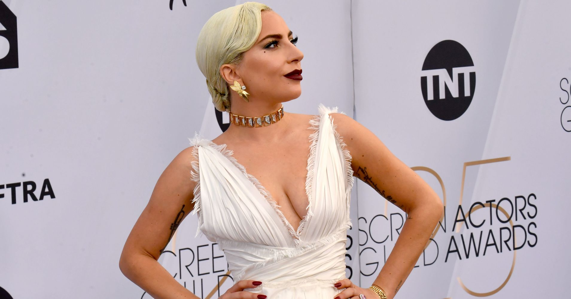 954b3569f85 Lady Gaga Goes Angelic White In Plunging Gown On SAG Awards Red Carpet