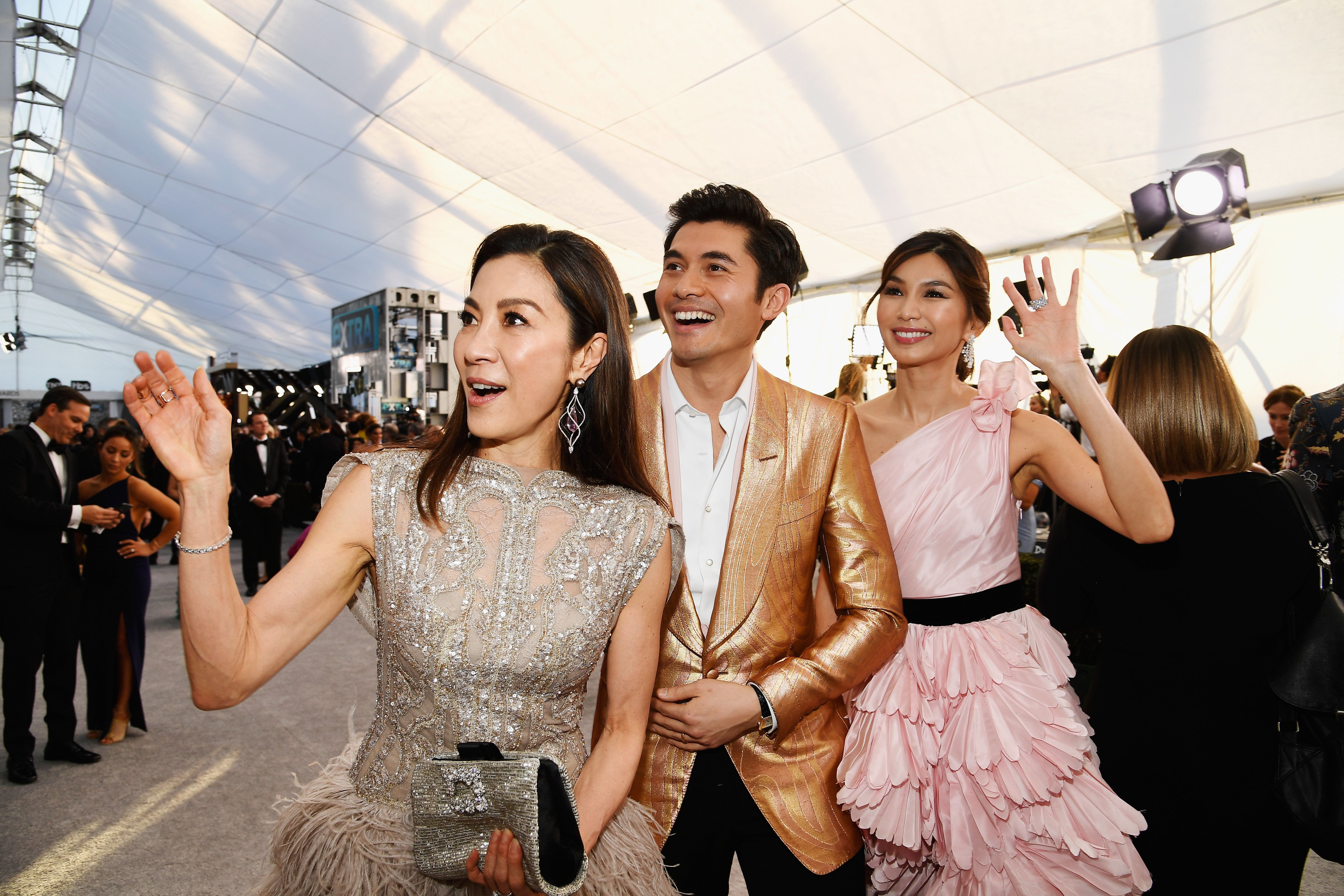 LOS ANGELES, CA - JANUARY 27:  (L-R) Michelle Yeoh, Henry Golding, and Gemma Chan attend the 25th Annual Screen ActorsGuild Awards at The Shrine Auditorium on January 27, 2019 in Los Angeles, California.  (Photo by Kevork Djansezian/Getty Images)