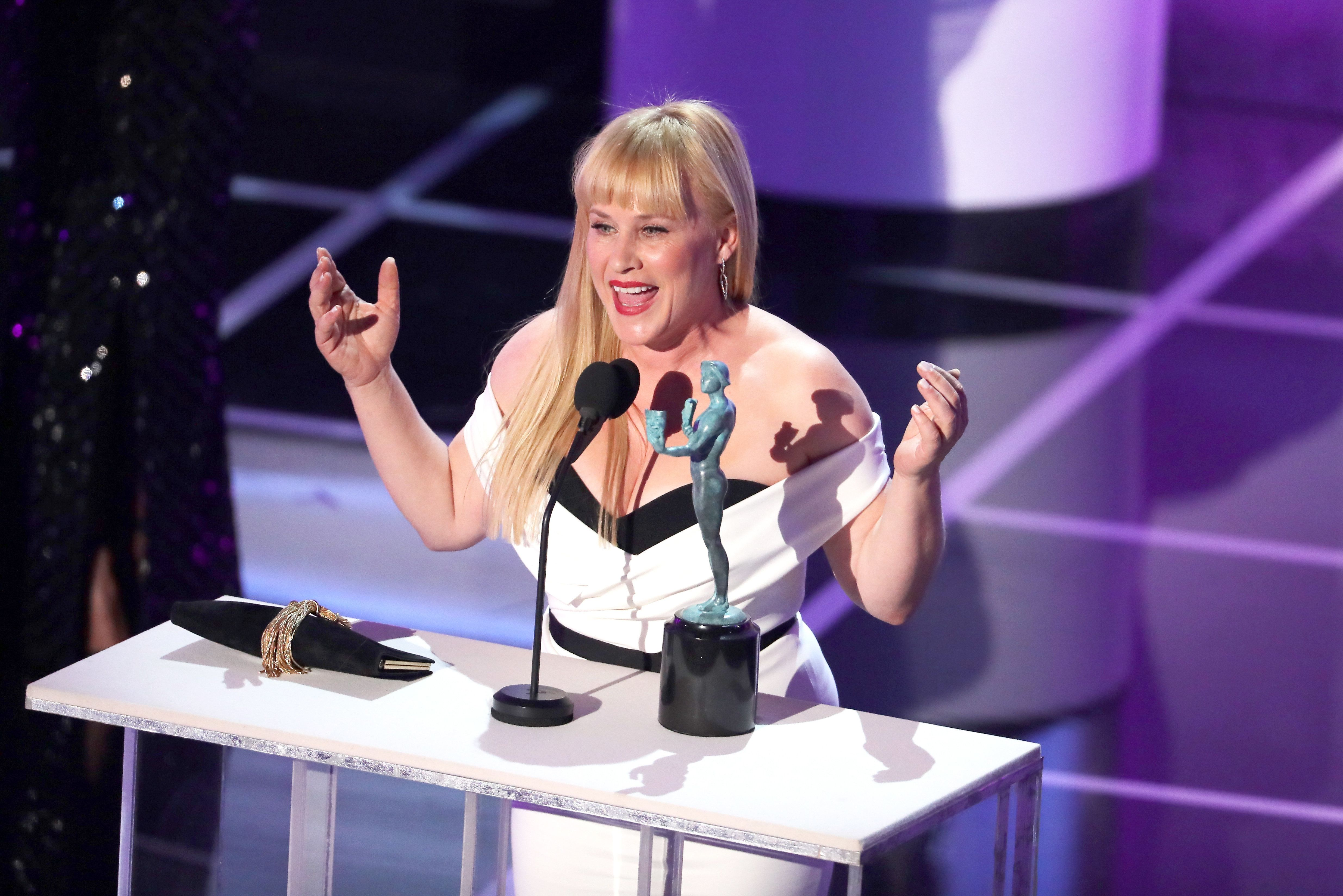 LOS ANGELES, CA - JANUARY 27:  Patricia Arquette onstage during the 25th Annual Screen ActorsGuild Awards at The Shrine Auditorium on January 27, 2019 in Los Angeles, California. 480468  (Photo by Richard Heathcote/Getty Images for Turner)