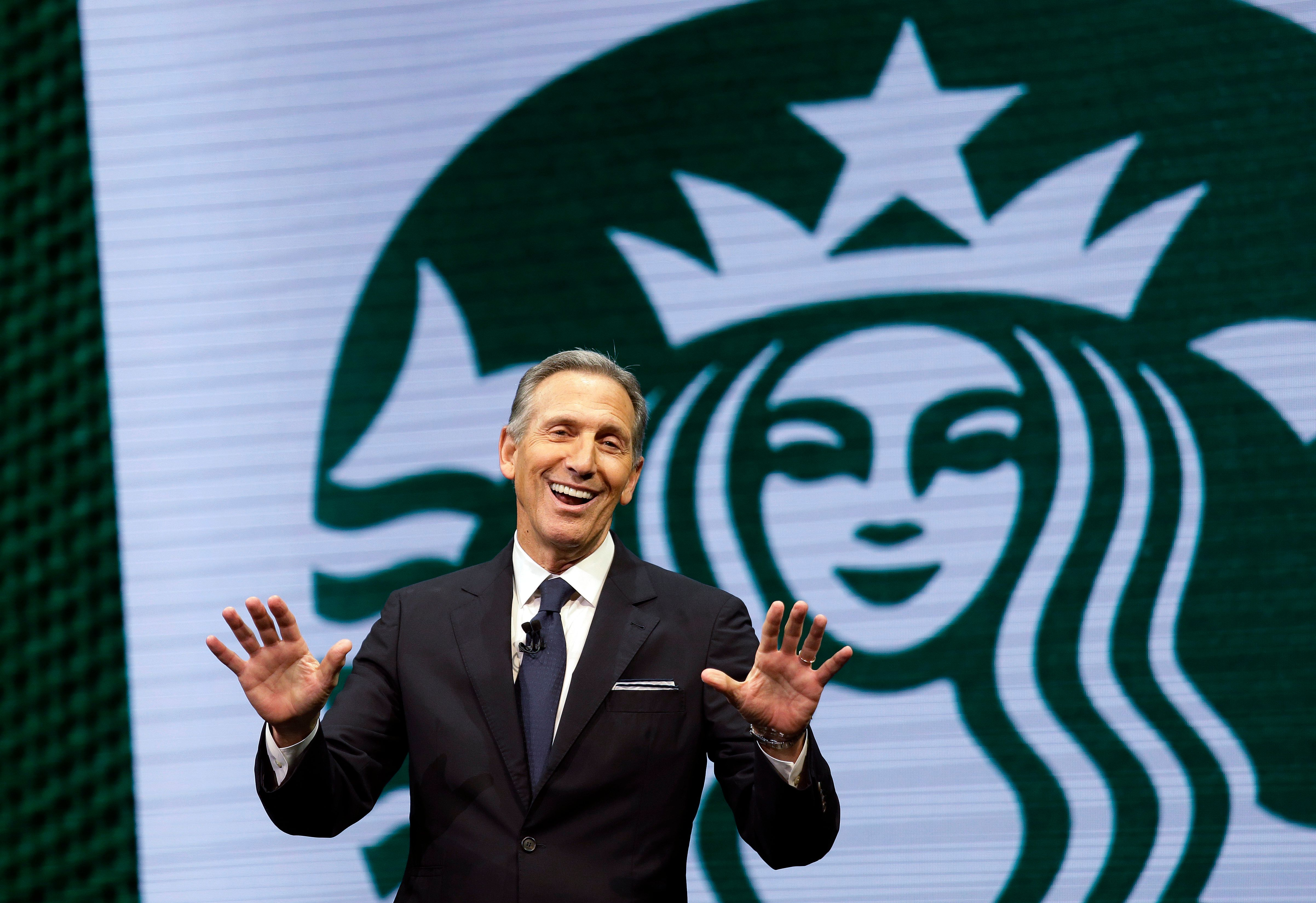 Starbucks CEO Howard Schultz speaks at the Starbucks annual shareholders meeting, Wednesday, March 22, 2017, in Seattle. (AP Photo/Elaine Thompson)